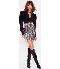 womens feeling fiesty leopard mini skirt - nude