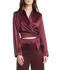 women's nanushka salome satin wrap blouse