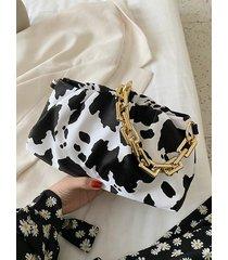 hombro de cadena con estampado de vaca bolsa