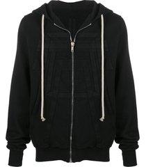 rick owens drkshdw stitched panel hoodie - black