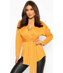 blouse in wikkelstijl met lange mouwen en sluiting taille, mosterd