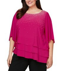 alex evenings plus size embellished tiered top