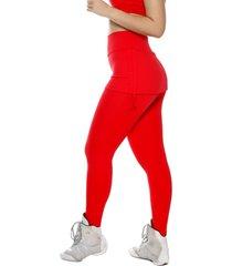 calça legging miss blessed premium com saia sobreposta vermelho ferrari