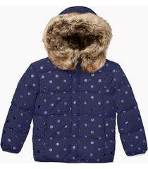 tommy hilfiger girl's adaptive hooded jacket evening blue multi - l