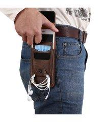 uomo vintage portacellulare multifonzionale custodia cellulare portafoglio borsello a tracolla nastro