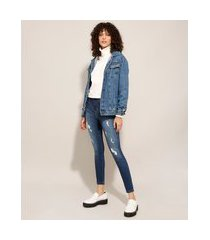 calça cigarrete heart jeans destroyed cintura super alta sawary azul escuro