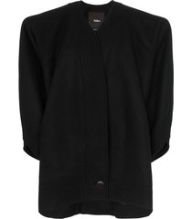 montana single-breasted structured wool coat - black