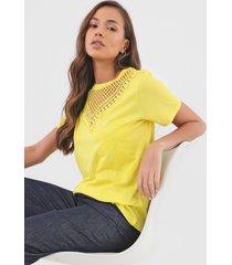 camiseta desigual tropic thoughts amarela - amarelo - feminino - algodã£o - dafiti
