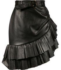 balmain ruffle detail belted skirt