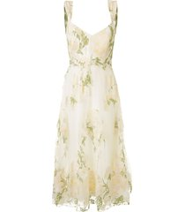 marchesa notte floral lace empire line dress - yellow