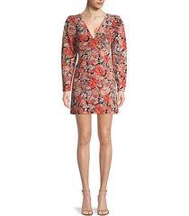 kapowski floral puff-sleeve mini dress