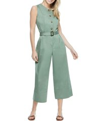 women's gal meets glam collection belted cotton jumpsuit, size 14 - green