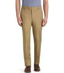 jos. a. bank men's traveler performance tailored fit flat front casual pants - big & tall, british tan, 46x29