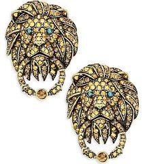 multicolor rhinestone & crystal lion door knocker earrings