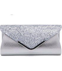 bolsa clutch liage envelope brilho glitter e metal alã§a removãvel prata - prata - feminino - dafiti