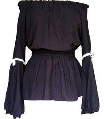 blusa escote recto manga con vuelo sarab/ mujer- negro