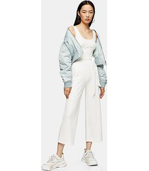 white ribbed jumpsuit with bust seam - white