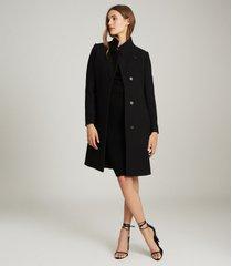 reiss marcie - wool blend mid length coat in black, womens, size 10