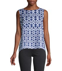 mosaic tie-dyed linen top