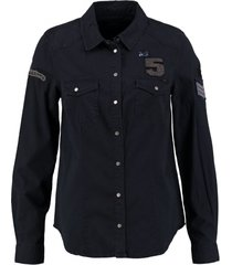 only zacht viscose denim shirt met badges
