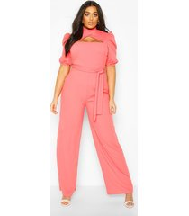 plus choker cut out puff sleeve jumpsuit, coral
