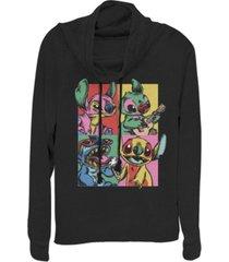fifth sun women's disney lilo stitch grunge stitch fleece cowl neck sweatshirt