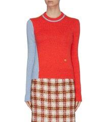 asymmetric colourblock wool-alpaca blend crop sweater