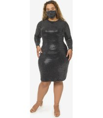 b darlin plus size sequin dress & face mask