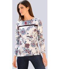 blouse alba moda offwhite::marine::rood