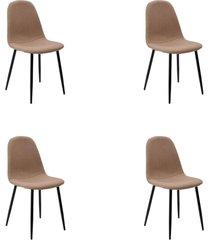conjunto 04 cadeiras tania caqui base escura rivatti - marrom - dafiti