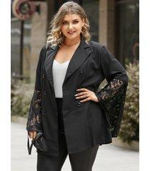 chaqueta de manga larga de encaje con diseño de botones con cuello de muesca y talla grande