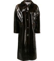 kassl editions tarnished-edge coated coat - brown