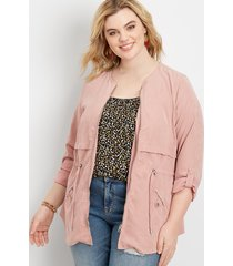 maurices plus size womens soft zip front anorak jacket pink