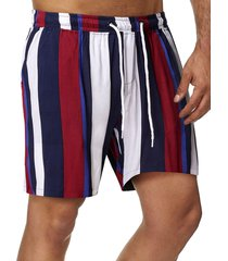 drawstring vertical stripe print beach shorts