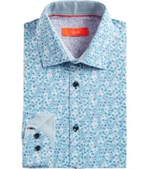 tallia men's slim-fit no-iron performance stretch mini-floral graphic dress shirt