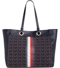 tommy hilfiger maya logo canvas tote, created for macy's