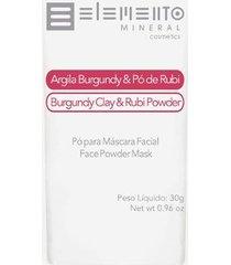 máscara facial elemento mineral argila burgundy com pó de rubi 30g