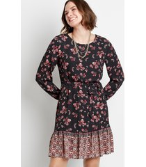 maurices womens black floral tie waist long sleeve mini dress