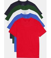 tommy hilfiger men's v-neck t-shirt 5pk navy/white/green/blue/red - xl