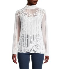 valentino women's sheer lace blouse - bianco - size 44 (8)