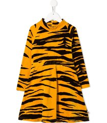 mini rodini organic cotton tiger-print velour dress - yellow