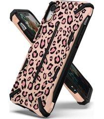 estuche protector ringke dual x iphone xr - leopardo rosado
