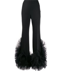 loulou tulle-embellished flared trousers - black