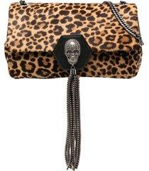 philipp plein skull leopard shoulder bag - neutrals