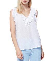 women's paige farfalla ruffle detail sleeveless blouse, size x-large - white