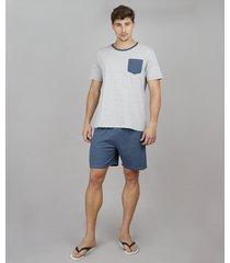 pijama masculino tal pai tal filho listrado com bolso manga curta cinza mescla