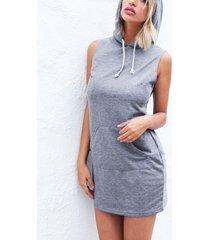 gris capucha mini sin mangas vestido