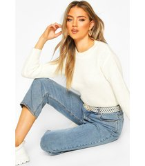 cropped fisherman sweater, cream
