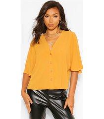 button through woven blouse, mustard