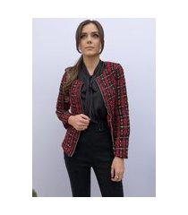 casaqueto hora de diva tweed xadrex preto e vermelho